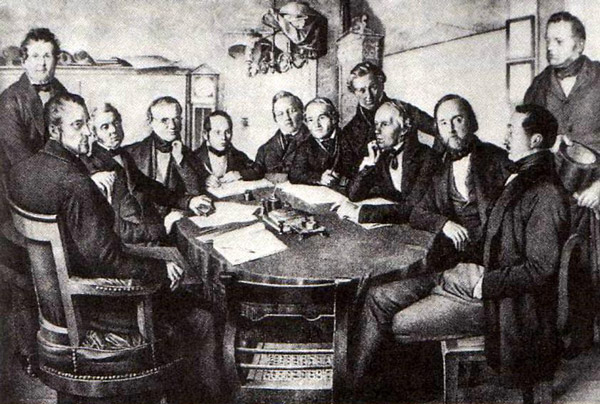 men discuss legislation